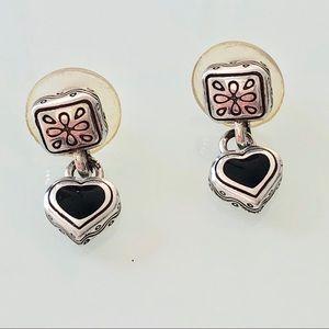 Brighten Black Heart Earrings W/ Gold Details